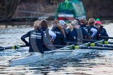 The Boat Race season 2013 - OUWBC training: In the OUWBC Blue Boat bow Mariann Novak, Alice Carrington-Windo, Mary Foord-Weston, Jo Lee, Amy Varney, Harriet Keane, Anastasia Chitty, stroke Maxie Scheske, and cox Katie Apfelbaum.. River Thames, Wallingford, Oxfordshire, United Kingdom, on 13 March 2013 at 17:48, image #183