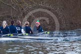 The Boat Race season 2013 - OUWBC training: In the OUWBC Blue Boat 5 seat Amy Varney, Harriet Keane, Anastasia Chitty, stroke Maxie Scheske, and cox Katie Apfelbaum.. River Thames, Wallingford, Oxfordshire, United Kingdom, on 13 March 2013 at 17:53, image #190