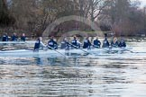 The Boat Race season 2013 - OUWBC training: OUWBC's Blue Boat and reserve boat crews warming up for a training session.. River Thames, Wallingford, Oxfordshire, United Kingdom, on 13 March 2013 at 18:00, image #197