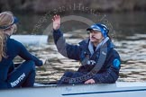 The Boat Race season 2013 - OUWBC training: Cox Sophie Shawdon in charge of Osiris, the OUWBC reserve boat. In front of Sophie is stroke Emily Chittock.. River Thames, Wallingford, Oxfordshire, United Kingdom, on 13 March 2013 at 18:00, image #199
