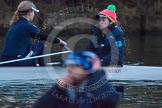 The Boat Race season 2013 - OUWBC training: The OUWBC Blue Boat racing Osiris, the reserve boat. In the Blue Boat stroke Maxie Scheske and cox Katie Apfelbaum, in Osiris, in front and out of focus, cox Sophie Shawdon.. River Thames, Wallingford, Oxfordshire, United Kingdom, on 13 March 2013 at 18:00, image #200