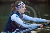 The Boat Race season 2013 - OUWBC training: In the bow seat of Osiris, the OUWBC reserve boat, Coralie Viollet-Djelassi.. River Thames, Wallingford, Oxfordshire, United Kingdom, on 13 March 2013 at 18:00, image #201