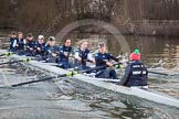 The Boat Race season 2013 - OUWBC training: The OUWBC Blue Boat during the training session - bow Mariann Novak, Alice Carrington-Windo, Mary Foord-Weston, Jo Lee, Amy Varney, Harriet Keane, Anastasia Chitty, stroke Maxie Scheske, and cox Katie Apfelbaum.. River Thames, Wallingford, Oxfordshire, United Kingdom, on 13 March 2013 at 18:01, image #206