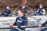 The Boat Race season 2013 - OUWBC training: The OUWBC Blue Boat racing Osiris, the reserve boat, here Blue Boat 6 seat Harriet Keane and 5 seat Amy Varney. In Osiris, behind and in focus, 3 seat Hannah Ledbury, 2 seat Elspeth Cumber, and bow Coralie Viollet-Djelassi.. River Thames, Wallingford, Oxfordshire, United Kingdom, on 13 March 2013 at 18:01, image #212