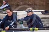 The Boat Race season 2013 - OUWBC training: The OUWBC Blue Boat racing Osiris, the reserve boat, here Blue Boat 6 seat Harriet Keane and 5 seat Amy Varney. In the bow of Osiris Coralie Viollet-Djelassi.. River Thames, Wallingford, Oxfordshire, United Kingdom, on 13 March 2013 at 18:01, image #213