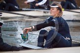 The Boat Race season 2013 - OUWBC training: The OUWBC Blue Boat racing Osiris, the reserve boat, here Blue Boat stroke Maxie Scheske.. River Thames, Wallingford, Oxfordshire, United Kingdom, on 13 March 2013 at 18:01, image #214