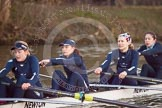 The Boat Race season 2013 - OUWBC training: In Osiris, the OUWBC reserve boat, stroke Emily Chittock, Annika Bruger, Caitlin Goss, and 4 seat Rachel Purkess.. River Thames, Wallingford, Oxfordshire, United Kingdom, on 13 March 2013 at 18:02, image #215