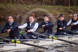 The Boat Race season 2013 - OUWBC training: In Osiris, the OUWBC reserve boat 5 seat Rachel Purkess, Eleanor Darlington, Hannah Ledbury, Elspeth Cumber, and bow Coralie Viollet-Djelassi.. River Thames, Wallingford, Oxfordshire, United Kingdom, on 13 March 2013 at 18:02, image #216