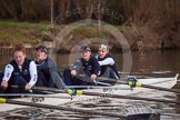 The Boat Race season 2013 - OUWBC training: In Osiris, the OUWBC reserve boat 4 seat Eleanor Darlington, Hannah Ledbury, Elspeth Cumber, and bow Coralie Viollet-Djelassi.. River Thames, Wallingford, Oxfordshire, United Kingdom, on 13 March 2013 at 18:02, image #217