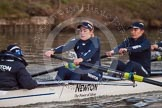 The Boat Race season 2013 - OUWBC training: In Osiris, the OUWBC reserve boat, cox Sophie Shawdon, stroke Emily Chittock, Annika Bruger, and 6 seat Caitlin Goss.. River Thames, Wallingford, Oxfordshire, United Kingdom, on 13 March 2013 at 18:02, image #218