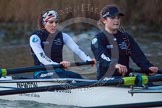 The Boat Race season 2013 - OUWBC training: In the OUWBC reserve boat Osiris - bow Coralie Viollet-Djelassi and 2 seat Elspeth Cumber.. River Thames, Wallingford, Oxfordshire, United Kingdom, on 13 March 2013 at 18:05, image #222