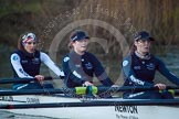The Boat Race season 2013 - OUWBC training: In the OUWBC reserve boat Osiris - bow Coralie Viollet-Djelassi, 2 seat Elspeth Cumber, and Hannah Ledbury.. River Thames, Wallingford, Oxfordshire, United Kingdom, on 13 March 2013 at 18:05, image #223