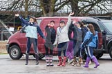 The Boat Race season 2013 - fixture OUWBC vs Olympians: Not siure who these waving young ladies are, but there enthusiasm, despite the pouring rain, was quite remarkable.. Dorney Lake, Dorney, Windsor, Buckinghamshire, United Kingdom, on 16 March 2013 at 11:12, image #45