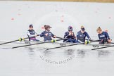 The Boat Race season 2013 - fixture OUWBC vs Olympians: In the Oxford (OUWBC) reserve boat Osiris at bow Coralie Viollet-Djelassi, 2 Elspeth Cumber, 3 Hannah Ledbury, 4 Eleanor Darlington and 5 Rachel Purkess.. Dorney Lake, Dorney, Windsor, Buckinghamshire, United Kingdom, on 16 March 2013 at 11:19, image #52