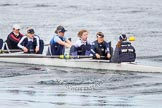 The Boat Race season 2013 - fixture OUWBC vs Olympians: In the Oxford (OUWBC) Blue Boat 4 seat Jo Lee, 5 Amy Varney, 6 Harriet Keane, 7 Anastasia Chitty, stroke Maxie Scheske, and cox Katie Apfelbaum.. Dorney Lake, Dorney, Windsor, Buckinghamshire, United Kingdom, on 16 March 2013 at 11:36, image #78