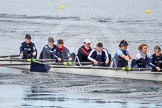 The Boat Race season 2013 - fixture OUWBC vs Olympians: In the Oxford (OUWBC) Blue Boat at bow Mariann Novak, 2 Alice Carrington-Windo, 3 Mary Foord-Weston, 4 Jo Lee, 5 Amy Varney, 6 Harriet Keane, 7 Anastasia Chitty and stroke Maxie Scheske.. Dorney Lake, Dorney, Windsor, Buckinghamshire, United Kingdom, on 16 March 2013 at 11:36, image #79