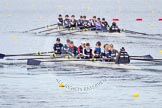 The Boat Race season 2013 - fixture OUWBC vs Olympians: In the Oxford (OUWBC) Blue Boat at bow Mariann Novak, 2 Alice Carrington-Windo, 3 Mary Foord-Weston, 4 Jo Lee, 5 Amy Varney, 6 Harriet Keane, 7 Anastasia Chitty, stroke Maxie Scheske, and cox Katie Apfelbaum. In the background and out of focus the OUWBC reserve boat Osiris.. Dorney Lake, Dorney, Windsor, Buckinghamshire, United Kingdom, on 16 March 2013 at 11:37, image #84