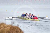 The Boat Race season 2013 - fixture OUWBC vs Olympians: In the Olympians boat at bow Natasha Townsend, 2 Kate Johnson, 3 Christiana Amacker, 4 Bethan Walters, 5 Anna Watkins, 6 Katherine Douglas, 7 Katherine Grainger, stroke Caryn Davies and cox Victoria Stulgis.. Dorney Lake, Dorney, Windsor, Buckinghamshire, United Kingdom, on 16 March 2013 at 11:37, image #86