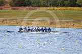 The Boat Race season 2013 - fixture OUWBC vs Olympians: In the Oxford (OUWBC) Blue Boat cox Katie Apfelbaum, stroke Maxie Scheske, Anastasia Chitty, Harriet Keane, Amy Varney, Jo Lee, Mary Foord-Weston, Alice Carrington-Windo, and at bow Mariann Novak.. Dorney Lake, Dorney, Windsor, Buckinghamshire, United Kingdom, on 16 March 2013 at 11:48, image #91