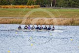 The Boat Race season 2013 - fixture OUWBC vs Olympians: In the Oxford (OUWBC) reserve boat Osiris cox Sophie Shawdon, stroke Emily Chittock, 7 Annika Bruger, 6 Caitlin Goss, 5 Rachel Purkess, 4 Eleanor Darlington, 3 Hannah Ledbury, 2 Elspeth Cumber and at bow Coralie Viollet-Djelassi.. Dorney Lake, Dorney, Windsor, Buckinghamshire, United Kingdom, on 16 March 2013 at 11:49, image #94