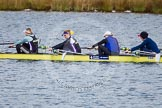 The Boat Race season 2013 - fixture OUWBC vs Olympians: In the Olympians boat 4 seat Bethan Walters, 3 Christiana Amacker, 2 Kate Johnson and at bow Natasha Townsend.. Dorney Lake, Dorney, Windsor, Buckinghamshire, United Kingdom, on 16 March 2013 at 11:49, image #96