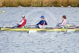 The Boat Race season 2013 - fixture OUWBC vs Olympians: In the Olympians boat cox stroke Caryn Davies, 7 Katherine Grainger and 6 Katherine Douglas.. Dorney Lake, Dorney, Windsor, Buckinghamshire, United Kingdom, on 16 March 2013 at 11:50, image #97