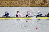 The Boat Race season 2013 - fixture OUWBC vs Olympians: In the Olympians boat 7 seat Katherine Grainger, 6 Katherine Douglas, 5 Anna Watkins and 4 Bethan Walters.. Dorney Lake, Dorney, Windsor, Buckinghamshire, United Kingdom, on 16 March 2013 at 11:50, image #101