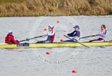 The Boat Race season 2013 - fixture OUWBC vs Olympians: In the Olympians boat cox Victoria Stulgis, stroke Caryn Davies, 7 Katherine Grainger and 6 Katherine Douglas.. Dorney Lake, Dorney, Windsor, Buckinghamshire, United Kingdom, on 16 March 2013 at 11:50, image #102