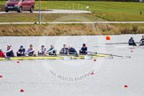 The Boat Race season 2013 - fixture OUWBC vs Olympians: In the Olympians boat cox Victoria Stulgis, stroke Caryn Davies, 7 Katherine Grainger, 6 Katherine Douglas, 5 Anna Watkins, 4 Bethan Walters, 3 Christiana Amacker, 2 Kate Johnson and at bow Natasha Townsend. In the OUWBC Blue Boat, top right, cox Katie Apfelbaum and stroke Maxie Scheske.. Dorney Lake, Dorney, Windsor, Buckinghamshire, United Kingdom, on 16 March 2013 at 11:51, image #106