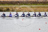 The Boat Race season 2013 - fixture OUWBC vs Olympians: In the Oxford (OUWBC) reserve boat Osiris stroke Emily Chittock, 7 Annika Bruger, 6 Caitlin Goss, 5 Rachel Purkess, 4 Eleanor Darlington, 3 Hannah Ledbury, 2 Elspeth Cumber and at bow Coralie Viollet-Djelassi.. Dorney Lake, Dorney, Windsor, Buckinghamshire, United Kingdom, on 16 March 2013 at 11:51, image #108