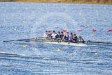 The Boat Race season 2013 - fixture OUWBC vs Olympians: In the Oxford (OUWBC) reserve boat Osiris at bow Coralie Viollet-Djelassi, Elspeth Cumber, Hannah Ledbury, Eleanor Darlington, Rachel Purkess, Caitlin Goss, Annika Bruger, stroke Emily Chittock and cox Sophie Shawdon.. Dorney Lake, Dorney, Windsor, Buckinghamshire, United Kingdom, on 16 March 2013 at 11:56, image #171