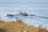 The Boat Race season 2013 - fixture OUWBC vs Olympians: In the Oxford (OUWBC) Blue Boat at bow Mariann Novak, Alice Carrington-Windo, Mary Foord-Weston, Jo Lee, Amy Varney, Harriet Keane, Anastasia Chitty, stroke Maxie Scheske, and cox Katie Apfelbaum.. Dorney Lake, Dorney, Windsor, Buckinghamshire, United Kingdom, on 16 March 2013 at 11:56, image #175