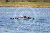 The Boat Race season 2013 - fixture OUWBC vs Olympians: In the Oxford (OUWBC) reserve boat Osiris at bow Coralie Viollet-Djelassi, 2 Elspeth Cumber, 3 Hannah Ledbury, 4 Eleanor Darlington, 5 Rachel Purkess, 6 Caitlin Goss, 7 Annika Bruger, stroke Emily Chittock and cox Sophie Shawdon.. Dorney Lake, Dorney, Windsor, Buckinghamshire, United Kingdom, on 16 March 2013 at 11:57, image #179