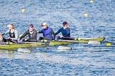 The Boat Race season 2013 - fixture OUWBC vs Olympians: In the Olympians boat 4 seat Bethan Walters, 3 Christiana Amacker, 2 Kate Johnson and at bow Natasha Townsend.. Dorney Lake, Dorney, Windsor, Buckinghamshire, United Kingdom, on 16 March 2013 at 12:23, image #291