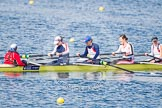 The Boat Race season 2013 - fixture OUWBC vs Olympians: In the Olympians boat cox Victoria Stulgis, stroke Caryn Davies, 7 Katherine Grainger, 6 Katherine Douglas and 5 Anna Watkins.. Dorney Lake, Dorney, Windsor, Buckinghamshire, United Kingdom, on 16 March 2013 at 12:23, image #293