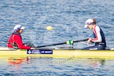 The Boat Race season 2013 - fixture OUWBC vs Olympians: In the Olympians boat cox Victoria Stulgis and stroke Caryn Davies.. Dorney Lake, Dorney, Windsor, Buckinghamshire, United Kingdom, on 16 March 2013 at 12:24, image #294