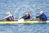 The Boat Race season 2013 - fixture OUWBC vs Olympians: In the Olympians boat 4 seat Bethan Walters, 3 Christiana Amacker, 2 Kate Johnson.. Dorney Lake, Dorney, Windsor, Buckinghamshire, United Kingdom, on 16 March 2013 at 12:24, image #295