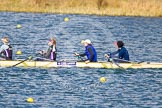 The Boat Race season 2013 - fixture OUWBC vs Olympians: In the Olympians boat 4 seat Bethan Walters, 3 Christiana Amacker, 2 Kate Johnson and at bow Natasha Townsend.. Dorney Lake, Dorney, Windsor, Buckinghamshire, United Kingdom, on 16 March 2013 at 12:24, image #298