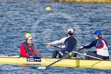 The Boat Race season 2013 - fixture OUWBC vs Olympians: In the Olympians boat cox Victoria Stulgis, stroke Caryn Davies and 7 Katherine Grainger.. Dorney Lake, Dorney, Windsor, Buckinghamshire, United Kingdom, on 16 March 2013 at 12:25, image #299