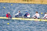 The Boat Race season 2013 - fixture OUWBC vs Olympians: In the Olympians boat cox Victoria Stulgis, stroke Caryn Davies, 7 Katherine Grainger, 6 Katherine Douglas and 5 Anna Watkins.. Dorney Lake, Dorney, Windsor, Buckinghamshire, United Kingdom, on 16 March 2013 at 12:25, image #300