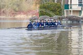 The Boat Race season 2013 - CUWBC training: First to arrive after at Temple Island after accepting the Henley Boat Race Challenge in the morning - the Oxford Lighweight boat.. River Thames near Remenham, Henley-on-Thames, Oxfordshire, United Kingdom, on 19 March 2013 at 13:18, image #2
