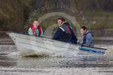 The Boat Race season 2013 - CUWBC training: The CUWBC coaching team checking the river conditions before the start of the training session.. River Thames near Remenham, Henley-on-Thames, Oxfordshire, United Kingdom, on 19 March 2013 at 14:01, image #8