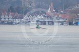 The Boat Race season 2013 - CUWBC training: The CUWBC Blue Boat on the way down the Thames, with Henley-on-Thames as backdrop.. River Thames near Remenham, Henley-on-Thames, Oxfordshire, United Kingdom, on 19 March 2013 at 15:30, image #18