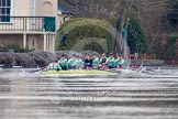 The Boat Race season 2013 - CUWBC training: The CUWBC reserve boat Blondie rowing a loop around Temple Island: Cox Arav Gupta, stroke Katie-Jane Whitlock, 7 Christine Seeliger, 6 Helena Schofield, 5 Sara Lackner,4 Lucy Griffin, 3 Rachel Boyd, 2 Ania Slotala, and bow Clare Hall.. River Thames near Remenham, Henley-on-Thames, Oxfordshire, United Kingdom, on 19 March 2013 at 15:33, image #46
