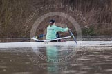 The Boat Race season 2013 - CUWBC training: Lizzy Johnstone, CUWBC substitute, rowing ahead of the three Cambridge boats.. River Thames near Remenham, Henley-on-Thames, Oxfordshire, United Kingdom, on 19 March 2013 at 15:37, image #51