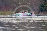 The Boat Race season 2013 - CUWBC training: The CUWBC Blue Boat on the way back from Temple Island to Henley: Bow Caroline Reid, 2 Fay Sandford, 3 Melissa Wilson, 4  Jessica Denman, 5 Vicky Shaw, 6 Claire Watkins, 7 Emily Day, stroke Holly Game, and cox Esther Momcilovic.. River Thames near Remenham, Henley-on-Thames, Oxfordshire, United Kingdom, on 19 March 2013 at 15:38, image #52
