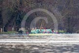 The Boat Race season 2013 - CUWBC training: The CUWBC reserve boat Blondie on the way back from Temple Island to Henley: Bow Clare Hall, 2 Ania Slotala, 3 Rachel Boyd, 4 Lucy Griffin, 5 Sara Lackner, 6 Helena Schofield, 7 Christine Seeliger, stroke Katie-Jane Whitlock, and cox Arav Gupta. River Thames near Remenham, Henley-on-Thames, Oxfordshire, United Kingdom, on 19 March 2013 at 15:38, image #55
