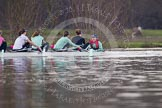The Boat Race season 2013 - CUWBC training: The CUWBC Blue Boat on the way back from Temple Island to Henley: In the 4 seat Lucy Griffin, 5 Sara Lackner, 6 Helena Schofield, 7 Christine Seeliger, stroke Katie-Jane Whitlock, and cox Arav Gupta.. River Thames near Remenham, Henley-on-Thames, Oxfordshire, United Kingdom, on 19 March 2013 at 15:38, image #58
