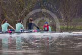 The Boat Race season 2013 - CUWBC training: The CUWBC Blue Boat on the way back from Temple Island to Henley: In the 5 seat Sara Lackner, 6 Helena Schofield, 7 Christine Seeliger, stroke Katie-Jane Whitlock, and cox Arav Gupta.. River Thames near Remenham, Henley-on-Thames, Oxfordshire, United Kingdom, on 19 March 2013 at 15:39, image #59