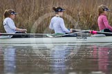 The Boat Race season 2013 - CUWBC training: In the CUWBC Blue Boat 2 seat Fay Sandford, 3 Melissa Wilson and 4  Jessica Denman.. River Thames near Remenham, Henley-on-Thames, Oxfordshire, United Kingdom, on 19 March 2013 at 15:39, image #62